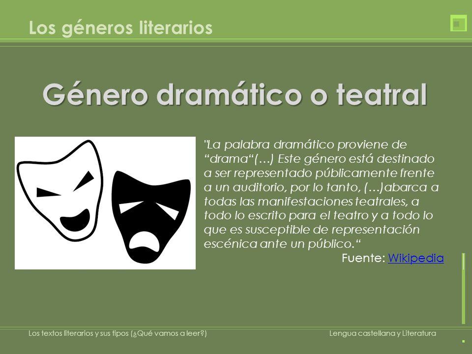 Los géneros literarios Género dramático o teatral Los textos literarios y sus tipos (¿Qué vamos a leer?)Lengua castellana y Literatura