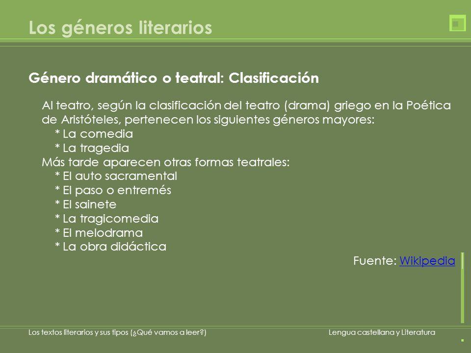 Los géneros literarios Los textos literarios y sus tipos (¿Qué vamos a leer?)Lengua castellana y Literatura Al teatro, según la clasificación del teat