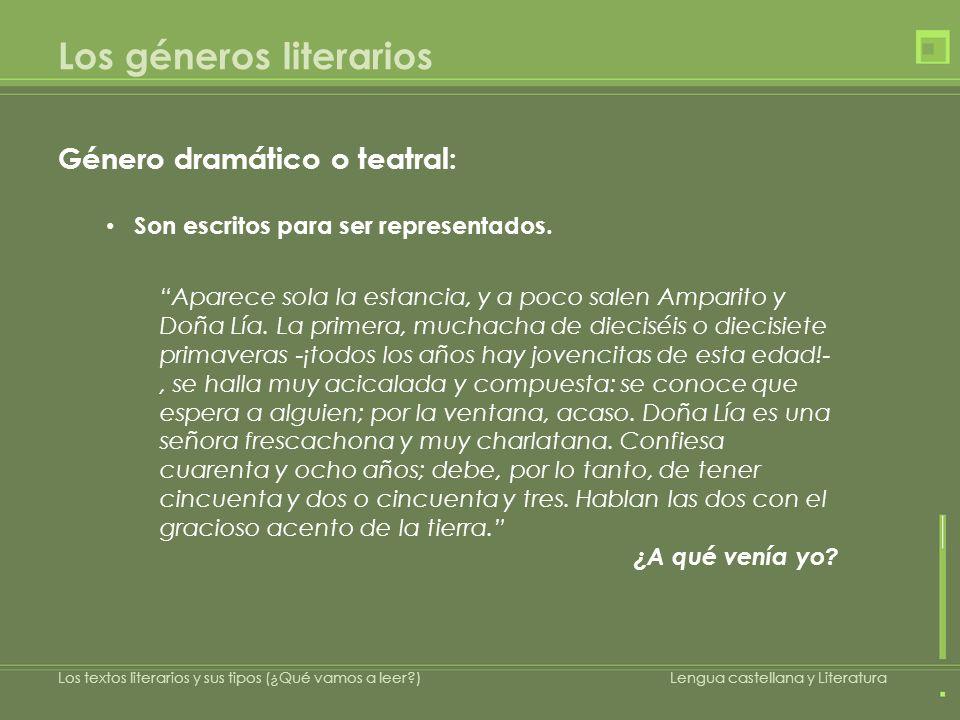 Los géneros literarios Género dramático o teatral: Son escritos para ser representados. Aparece sola la estancia, y a poco salen Amparito y Doña Lía.