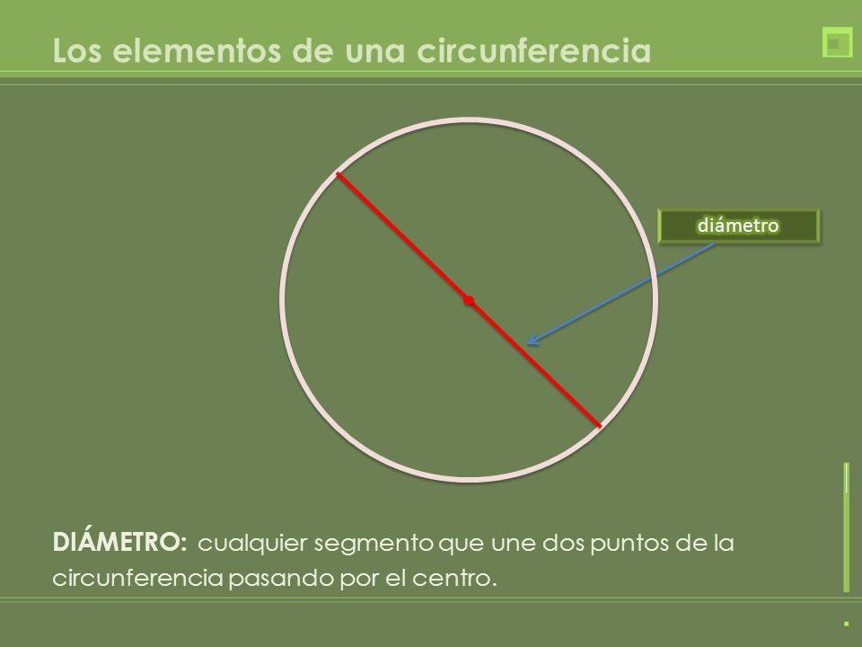 Los elementos de una circunferencia DIÁMETRO: cualquier segmento que une dos puntos de la circunferencia pasando por el centro.