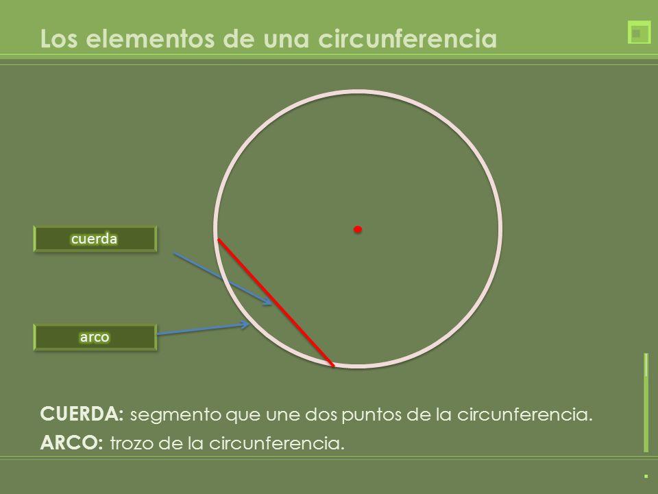 Los elementos de una circunferencia CUERDA: segmento que une dos puntos de la circunferencia. ARCO: trozo de la circunferencia.