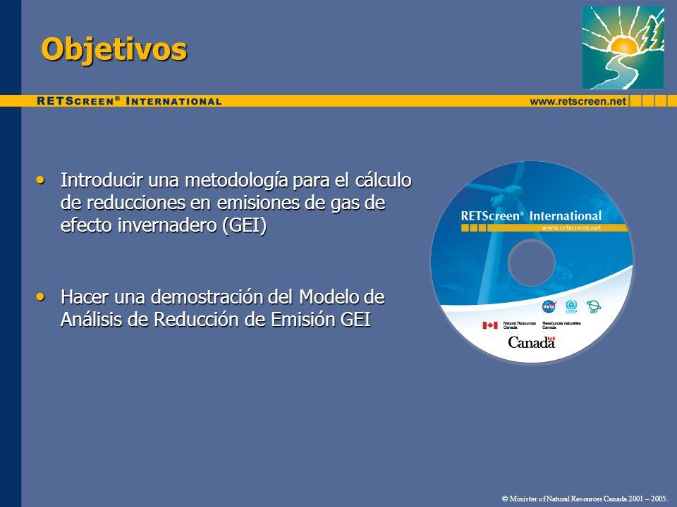 Objetivos Introducir una metodología para el cálculo de reducciones en emisiones de gas de efecto invernadero (GEI) Introducir una metodología para el