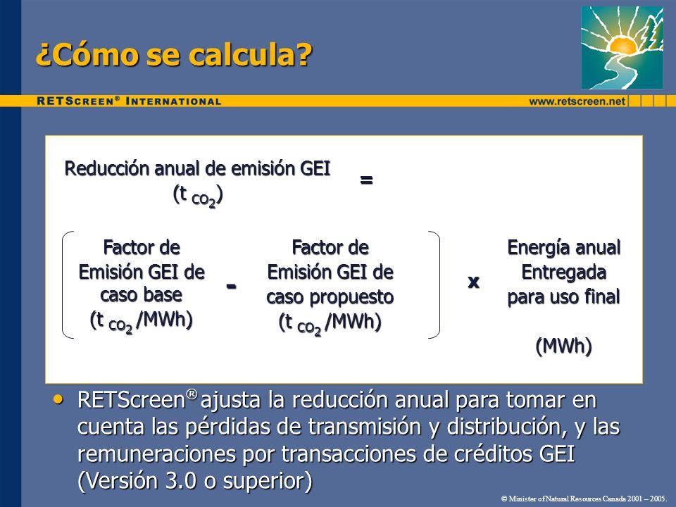 Modelo de Análisis de Reducción de Emisión de GEI RETScreen ® Metodología estandarizada desarrollada por NRCan con el Programa Ambiental de las Naciones Unidas (PANU), el Centro PANU RISØ sobre Energía, Clima y Desarrollo Sustentable, y el Fondo de Carbón Prototipo del Banco Mundial (FCP) Metodología estandarizada desarrollada por NRCan con el Programa Ambiental de las Naciones Unidas (PANU), el Centro PANU RISØ sobre Energía, Clima y Desarrollo Sustentable, y el Fondo de Carbón Prototipo del Banco Mundial (FCP) Validado por un equipo de expertos del Gobierno y la Industria Validado por un equipo de expertos del Gobierno y la Industria © Minister of Natural Resources Canada 2001 – 2005.