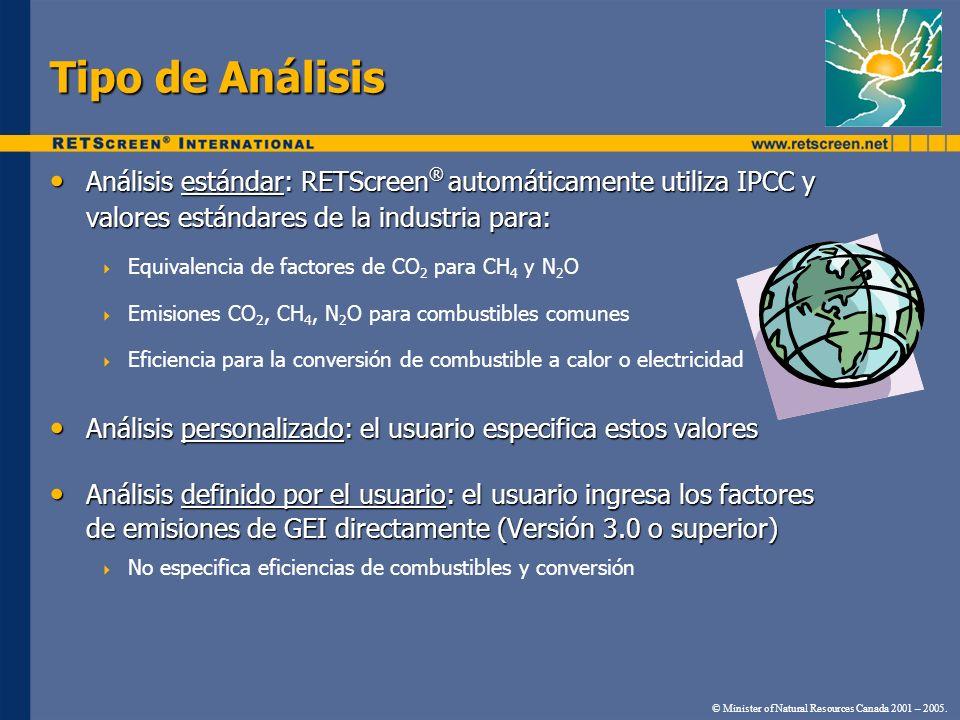 Tipo de Análisis Análisis estándar: RETScreen ® automáticamente utiliza IPCC y valores estándares de la industria para: Análisis estándar: RETScreen ®