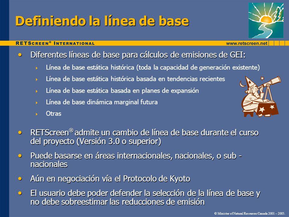 Definiendo la línea de base Diferentes líneas de base para cálculos de emisiones de GEI: Diferentes líneas de base para cálculos de emisiones de GEI: