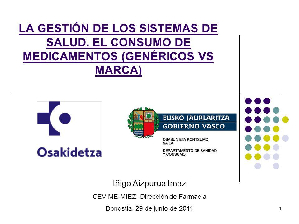 1 LA GESTIÓN DE LOS SISTEMAS DE SALUD. EL CONSUMO DE MEDICAMENTOS (GENÉRICOS VS MARCA) Iñigo Aizpurua Imaz CEVIME-MIEZ. Dirección de Farmacia Donostia