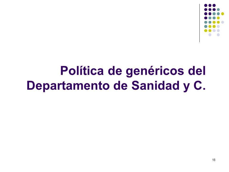 18 Política de genéricos del Departamento de Sanidad y C.