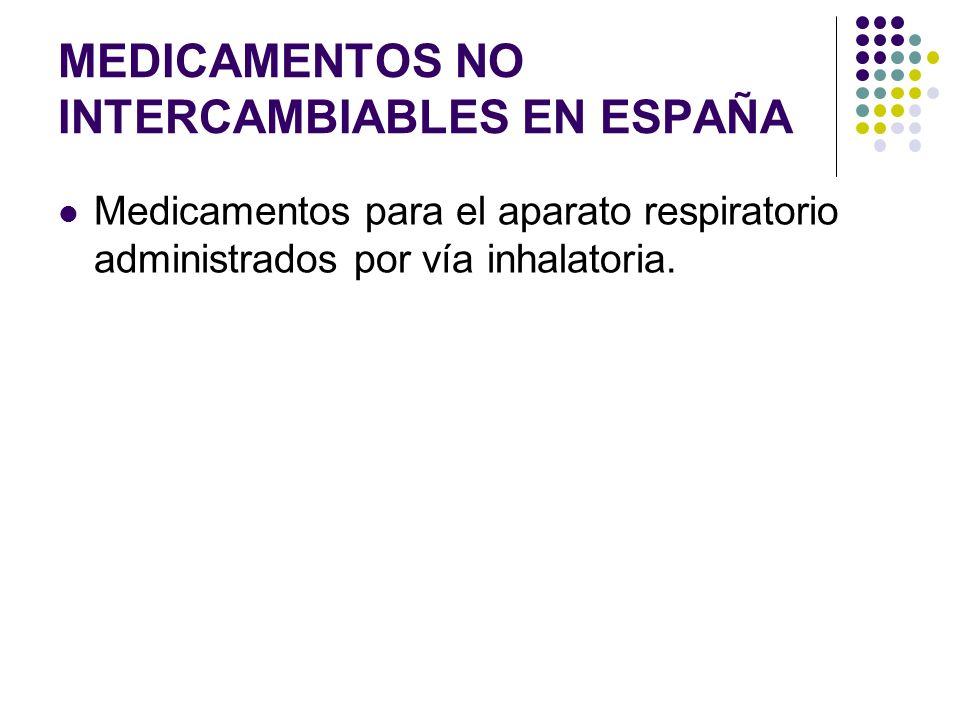 MEDICAMENTOS NO INTERCAMBIABLES EN ESPAÑA Medicamentos para el aparato respiratorio administrados por vía inhalatoria.