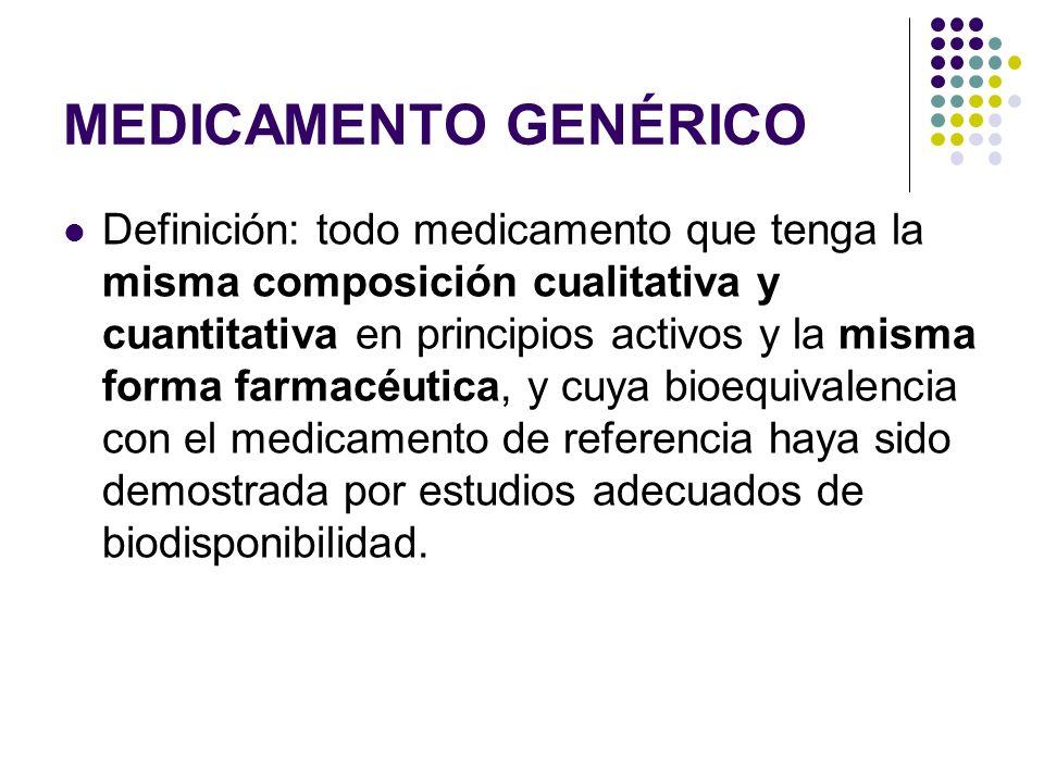 MEDICAMENTO GENÉRICO Definición: todo medicamento que tenga la misma composición cualitativa y cuantitativa en principios activos y la misma forma far