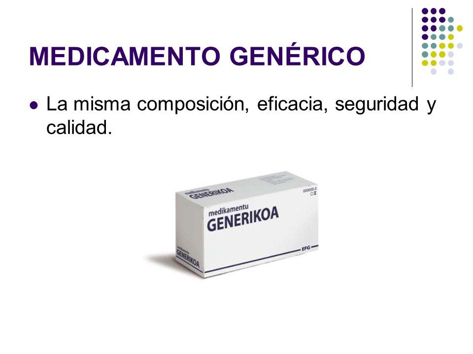 MEDICAMENTO GENÉRICO La misma composición, eficacia, seguridad y calidad.