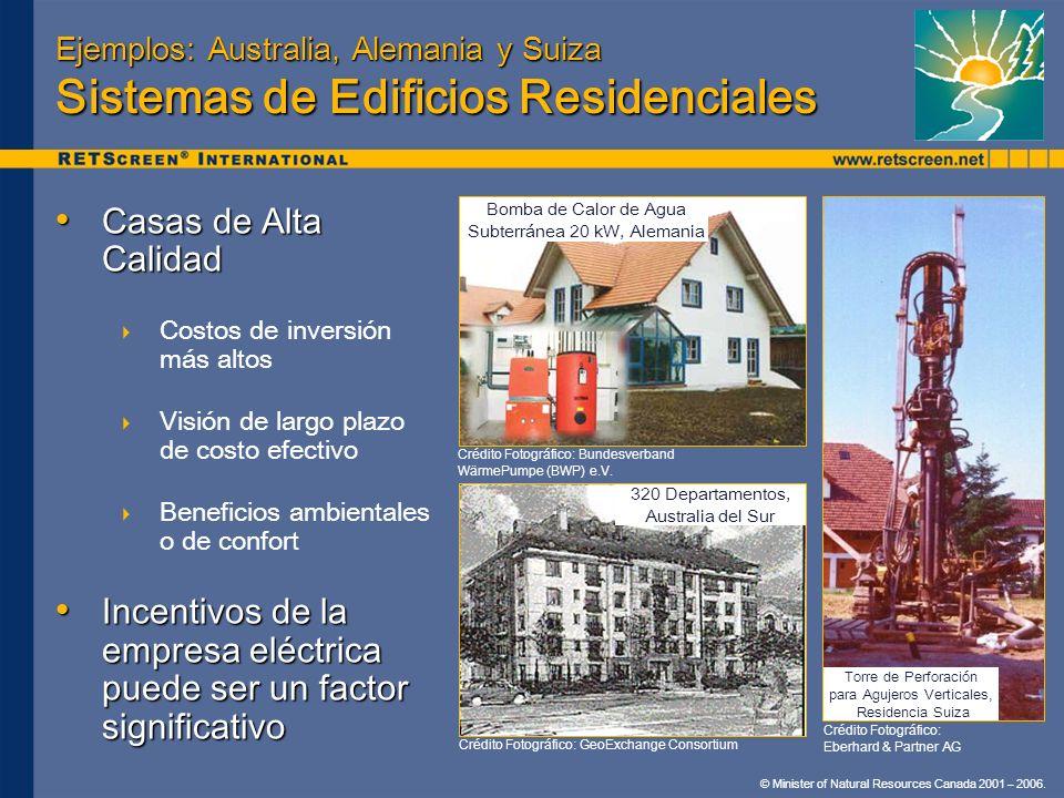 © Minister of Natural Resources Canada 2001 – 2006. Ejemplos: Australia, Alemania y Suiza Sistemas de Edificios Residenciales Casas de Alta Calidad Ca