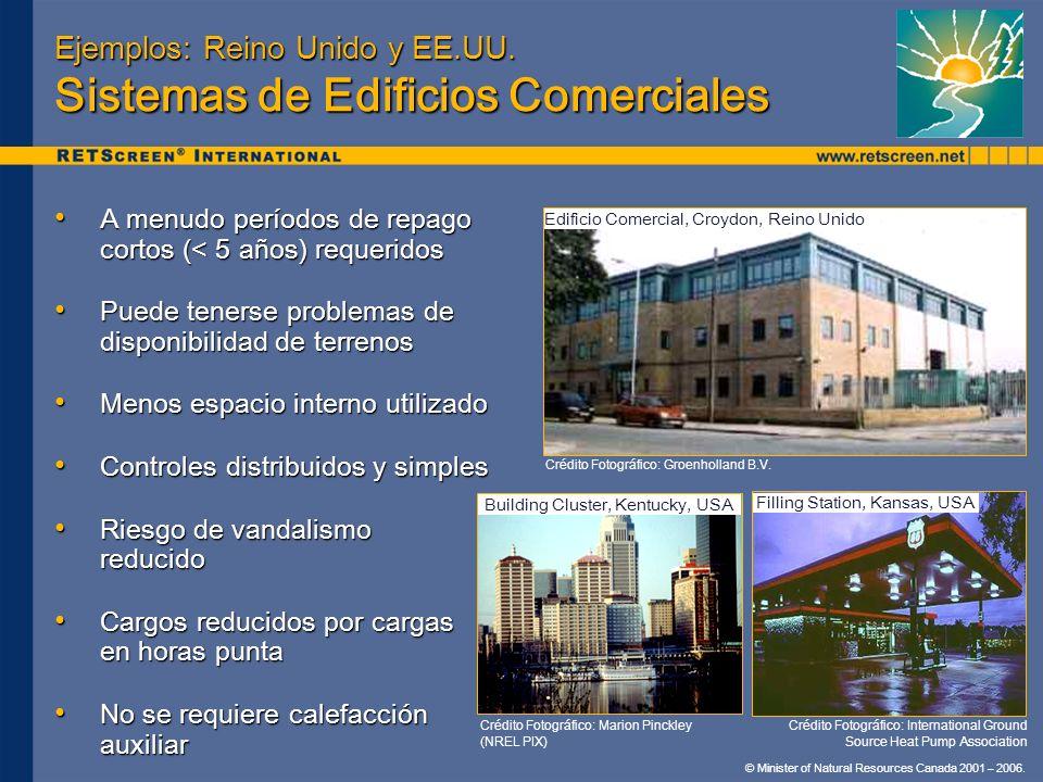 © Minister of Natural Resources Canada 2001 – 2006. Ejemplos: Reino Unido y EE.UU. Sistemas de Edificios Comerciales A menudo períodos de repago corto