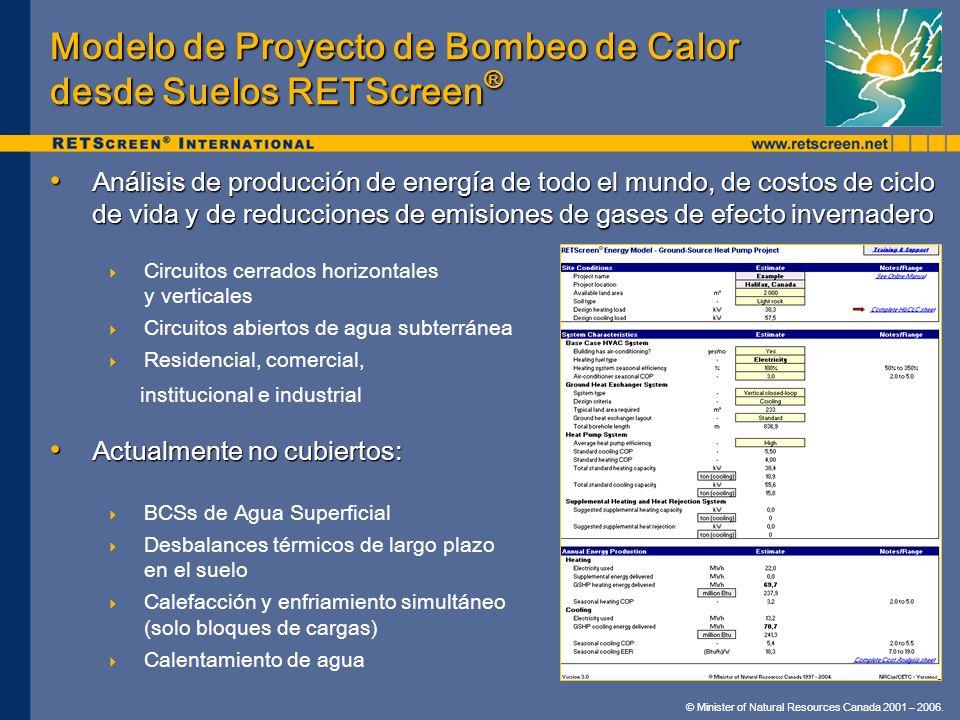 © Minister of Natural Resources Canada 2001 – 2006. Modelo de Proyecto de Bombeo de Calor desde Suelos RETScreen ® Análisis de producción de energía d