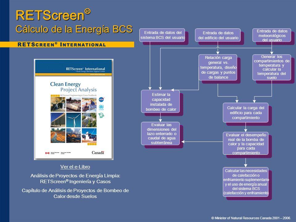 © Minister of Natural Resources Canada 2001 – 2006. Ver el e-Libro Análisis de Proyectos de Energía Limpia: RETScreen ® Ingeniería y Casos Capítulo de