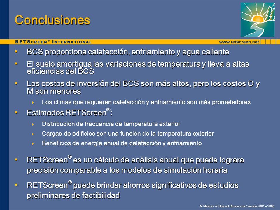 © Minister of Natural Resources Canada 2001 – 2006. Conclusiones BCS proporciona calefacción, enfriamiento y agua caliente BCS proporciona calefacción