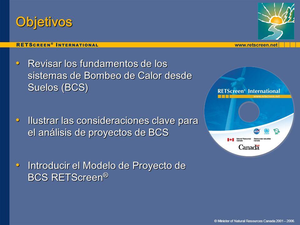 © Minister of Natural Resources Canada 2001 – 2006. Objetivos Revisar los fundamentos de los sistemas de Bombeo de Calor desde Suelos (BCS) Revisar lo