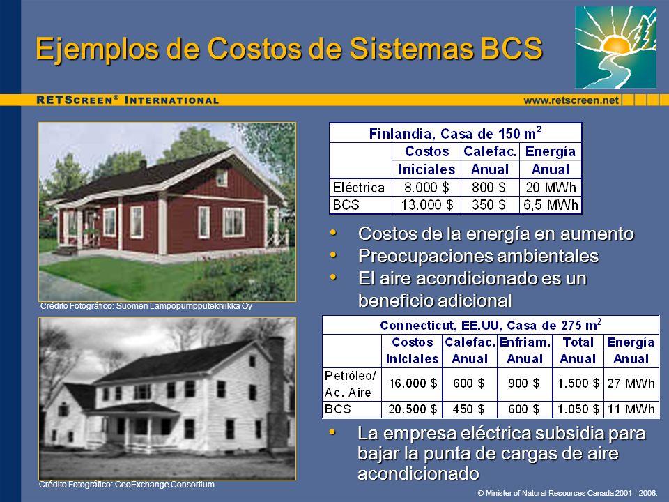 © Minister of Natural Resources Canada 2001 – 2006. Ejemplos de Costos de Sistemas BCS La empresa eléctrica subsidia para bajar la punta de cargas de