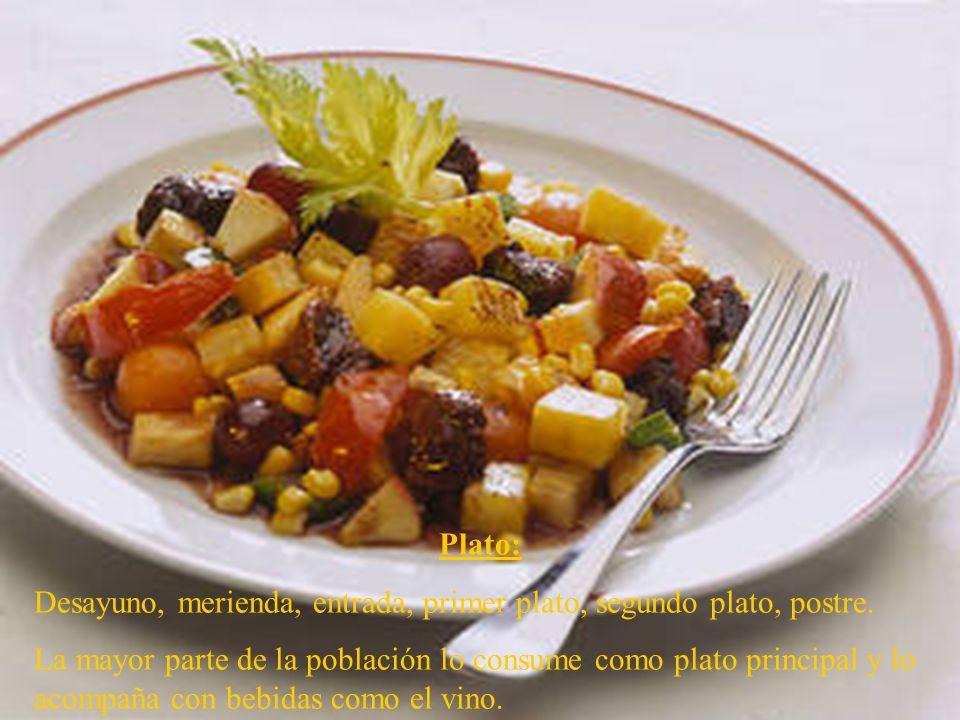 Plato: Desayuno, merienda, entrada, primer plato, segundo plato, postre. La mayor parte de la población lo consume como plato principal y lo acompaña
