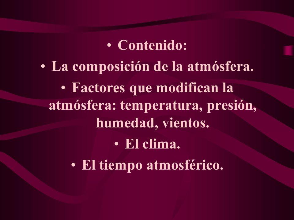 Contenido: La composición de la atmósfera.