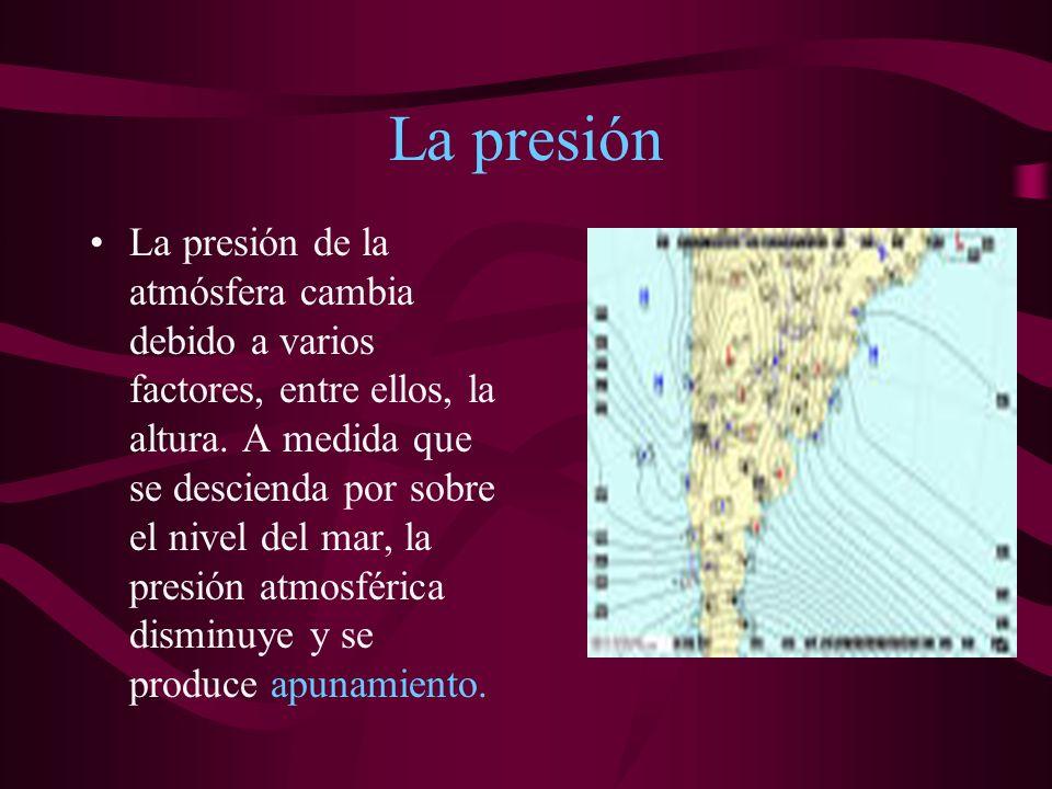 La presión La presión de la atmósfera cambia debido a varios factores, entre ellos, la altura.