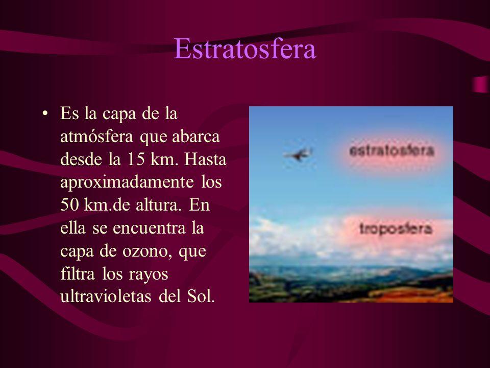 Estratosfera Es la capa de la atmósfera que abarca desde la 15 km.