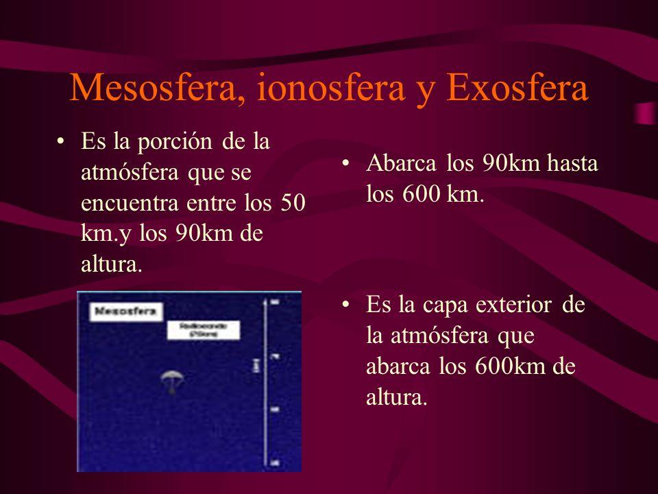 Mesosfera, ionosfera y Exosfera Es la porción de la atmósfera que se encuentra entre los 50 km.y los 90km de altura.