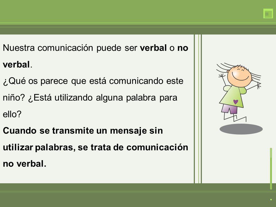 Nuestra comunicación puede ser verbal o no verbal. ¿Qué os parece que está comunicando este niño? ¿Está utilizando alguna palabra para ello? Cuando se