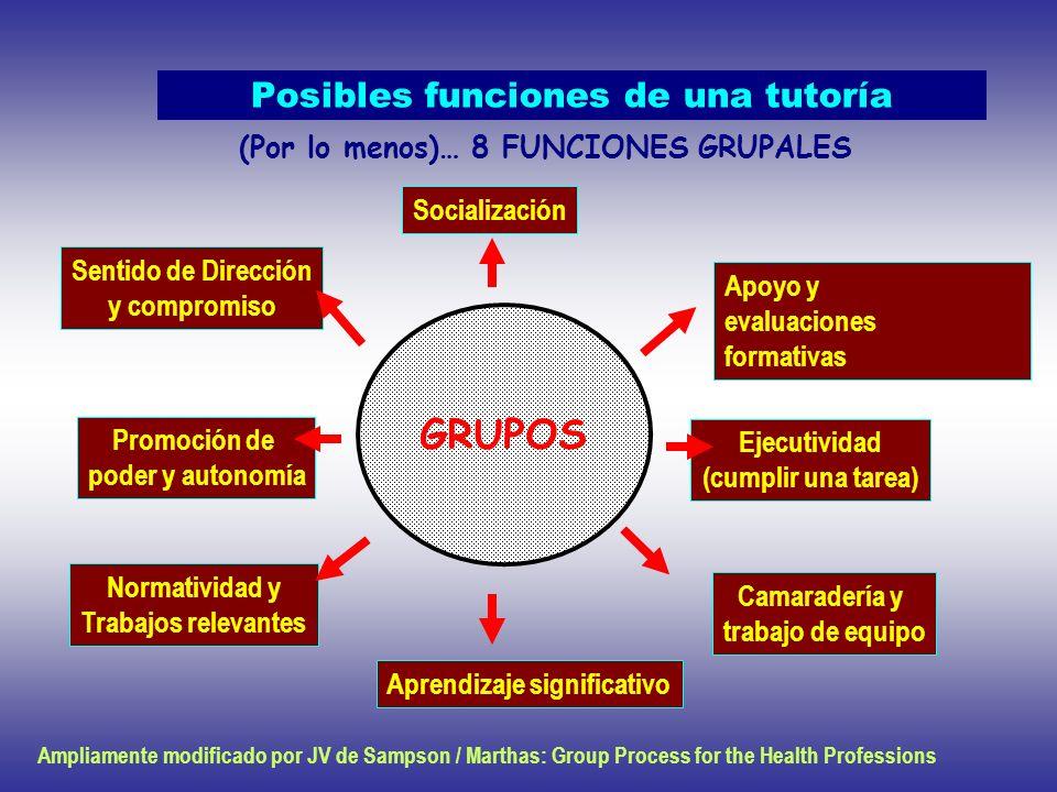 Posibles funciones de una tutoría GRUPOS Socialización Sentido de Dirección y compromiso Promoción de poder y autonomía Normatividad y Trabajos releva