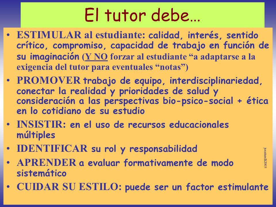 El tutor debe… ESTIMULAR al estudiante: calidad, interés, sentido crítico, compromiso, capacidad de trabajo en función de su imaginación (Y NO forzar