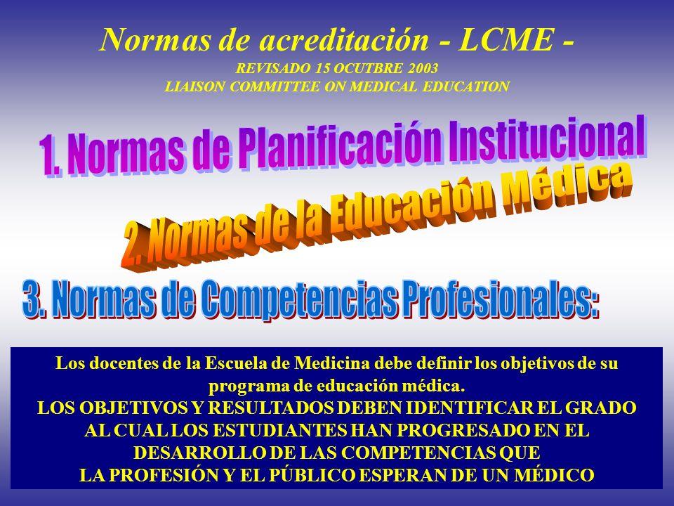Normas de acreditación - LCME - REVISADO 15 OCUTBRE 2003 LIAISON COMMITTEE ON MEDICAL EDUCATION Los docentes de la Escuela de Medicina debe definir lo