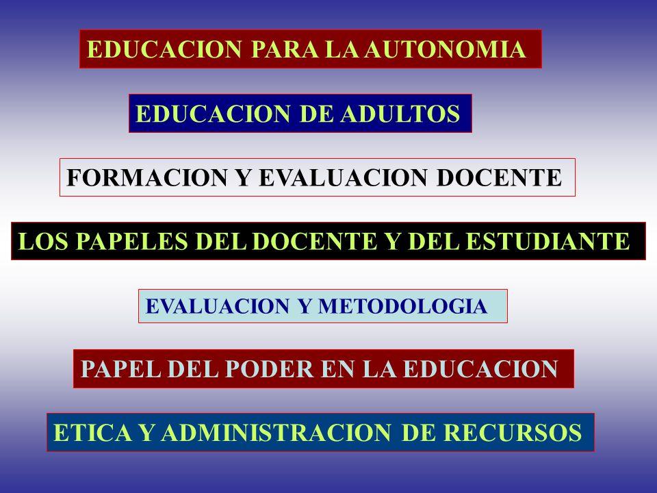 EDUCACION PARA LA AUTONOMIA EDUCACION DE ADULTOS LOS PAPELES DEL DOCENTE Y DEL ESTUDIANTE PAPEL DEL PODER EN LA EDUCACION ETICA Y ADMINISTRACION DE RE