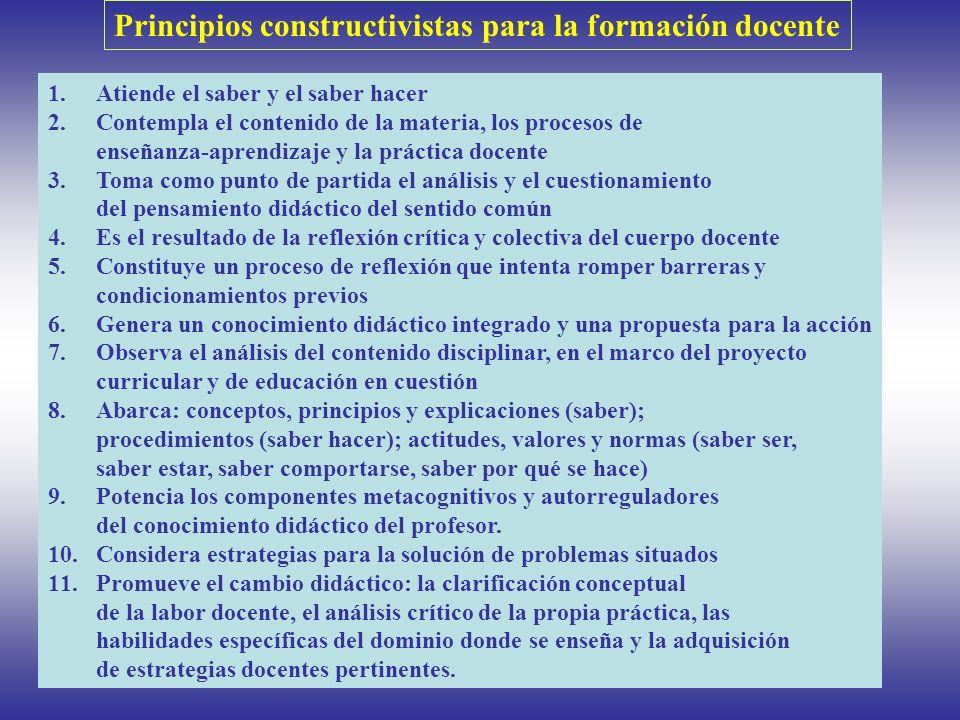 Principios constructivistas para la formación docente 1.Atiende el saber y el saber hacer 2.Contempla el contenido de la materia, los procesos de ense