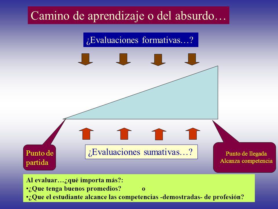 Camino de aprendizaje o del absurdo… ¿Evaluaciones sumativas…? ¿Evaluaciones formativas…? Punto de partida Punto de llegada Alcanza competencia jventu