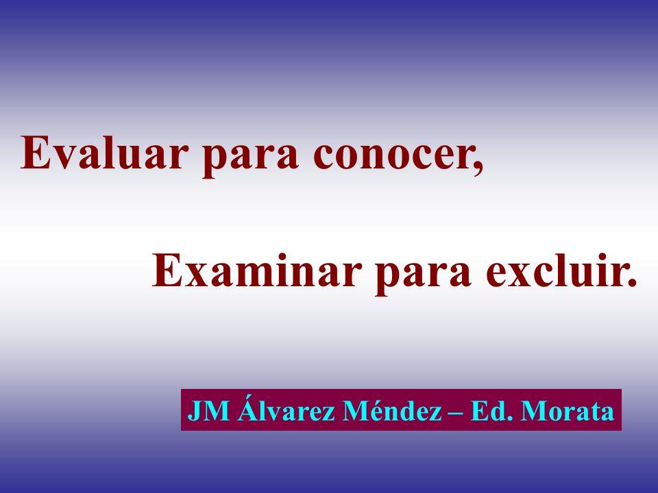 Evaluar para conocer, Examinar para excluir. JM Álvarez Méndez – Ed. Morata