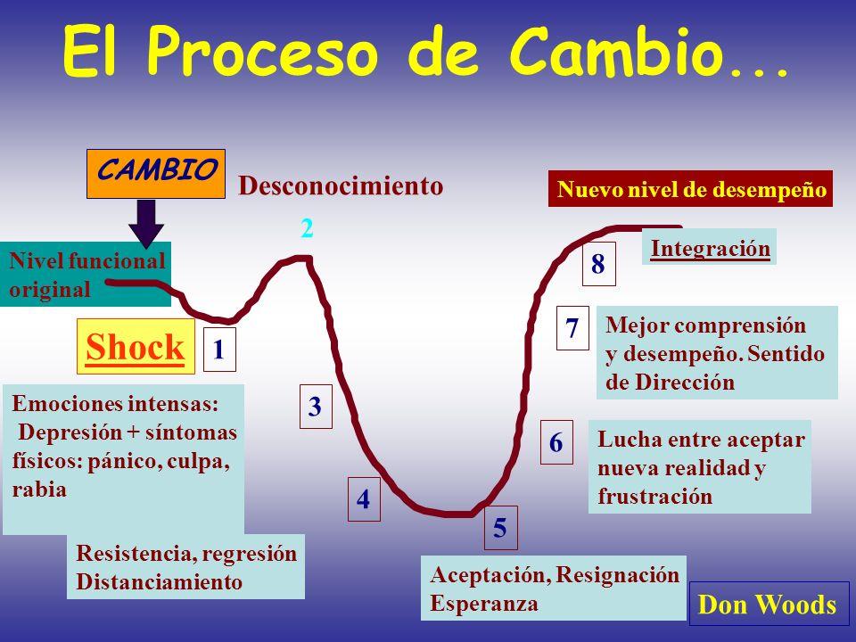 Nivel funcional original El Proceso de Cambio... 1 2 3 4 5 6 7 8 Shock Desconocimiento Emociones intensas: Depresión + síntomas físicos: pánico, culpa