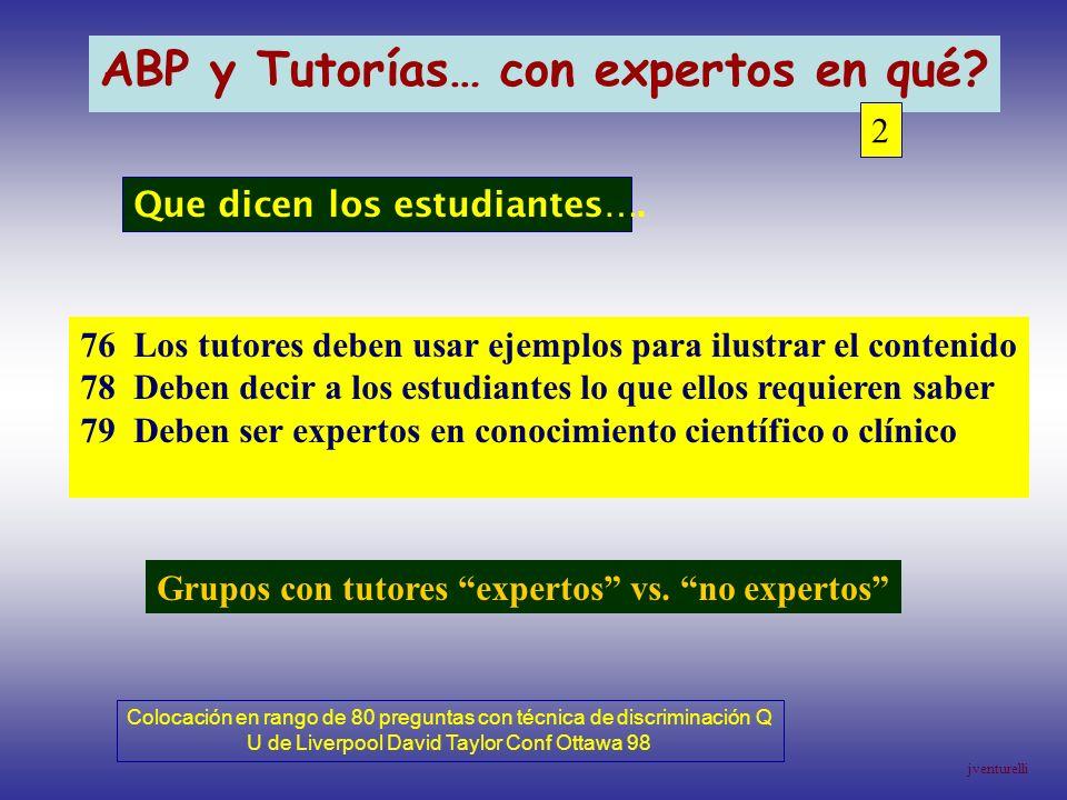 ABP y Tutorías… con expertos en qué? 2 76 Los tutores deben usar ejemplos para ilustrar el contenido 78 Deben decir a los estudiantes lo que ellos req
