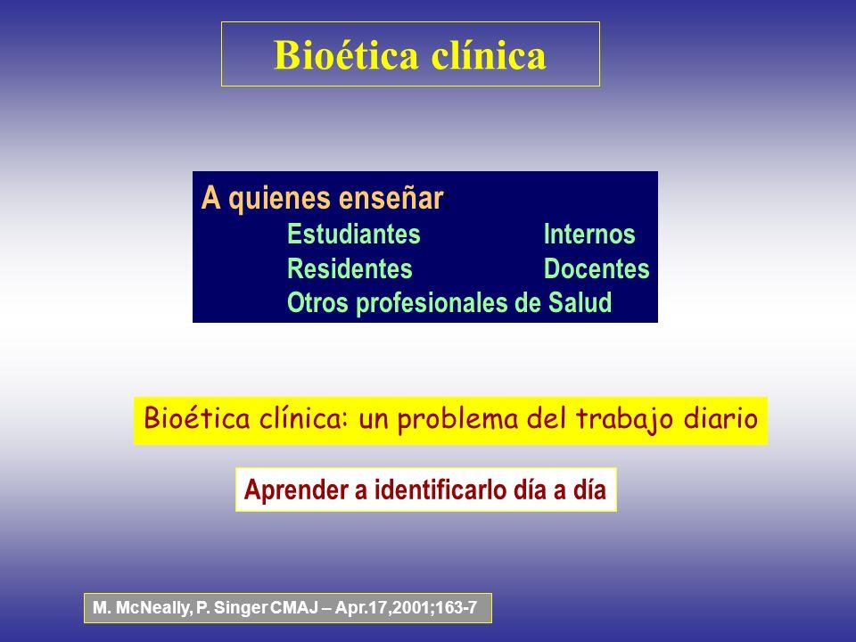 Bioética clínica A quienes enseñar : EstudiantesInternos ResidentesDocentes Otros profesionales de Salud Bioética clínica: un problema del trabajo dia