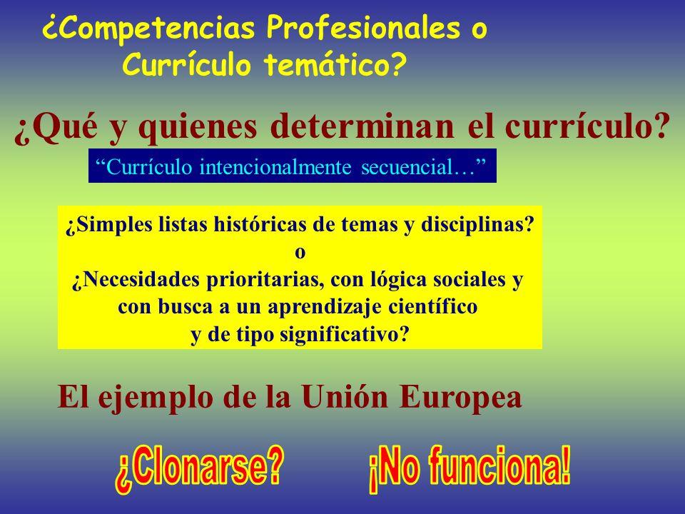 ¿Competencias Profesionales o Currículo temático? ¿Qué y quienes determinan el currículo? ¿Simples listas históricas de temas y disciplinas? o ¿Necesi