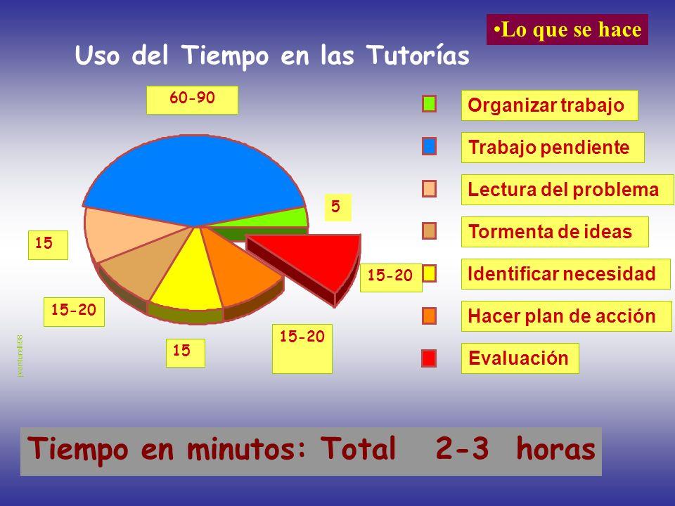 Uso del Tiempo en las Tutorías Tiempo en minutos: Total 2-3 horas 15-20 15 60-90 5 Evaluación Hacer plan de acción Identificar necesidad Tormenta de i