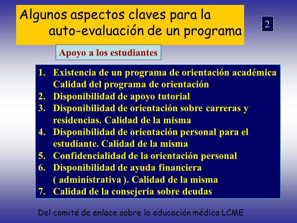 Algunos aspectos claves para la auto-evaluación de un programa Apoyo a los estudiantes 1.Existencia de un programa de orientación académica Calidad de