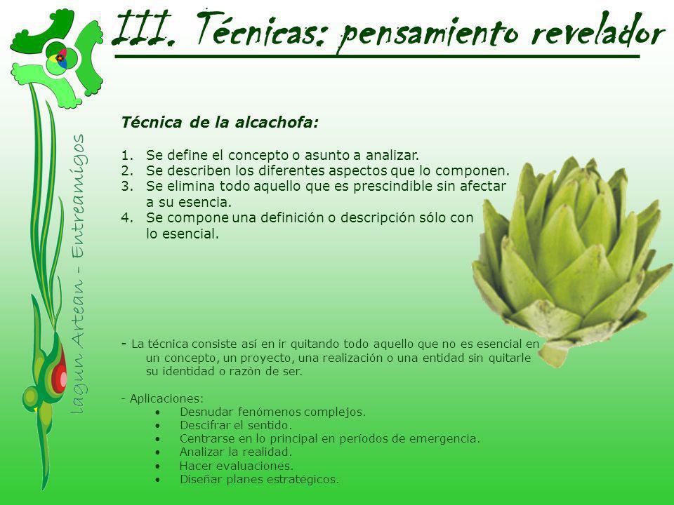 III. Técnicas: pensamiento revelador Técnica de la alcachofa: 1.Se define el concepto o asunto a analizar. 2.Se describen los diferentes aspectos que