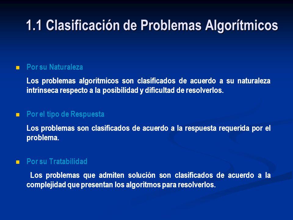 Tópicos Clasificación de Problemas Clasificación por su Naturaleza Clasificación por su Tratabilidad Clasificación por el tipo de Respuesta