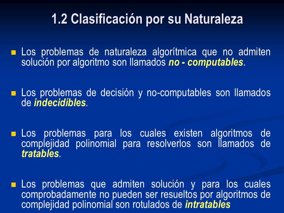 1.1 Clasificación de Problemas Algorítmicos Por su Naturaleza Los problemas algorítmicos son clasificados de acuerdo a su naturaleza intrínseca respec