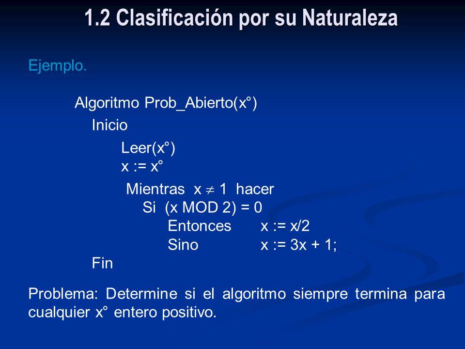 1.2 Clasificación por su Naturaleza No computable Problemas que no admiten Solución algorítmicaIndecidíble Tratable Problemas que admiten Solución alg