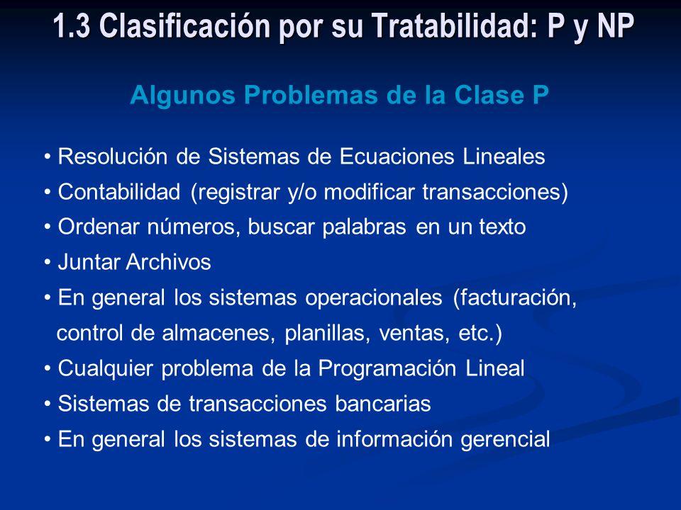 La Clase P Está constituida por todos los problemas comprobadamente tratables, esto es, problemas que pueden ser resueltos por algoritmos de complejid