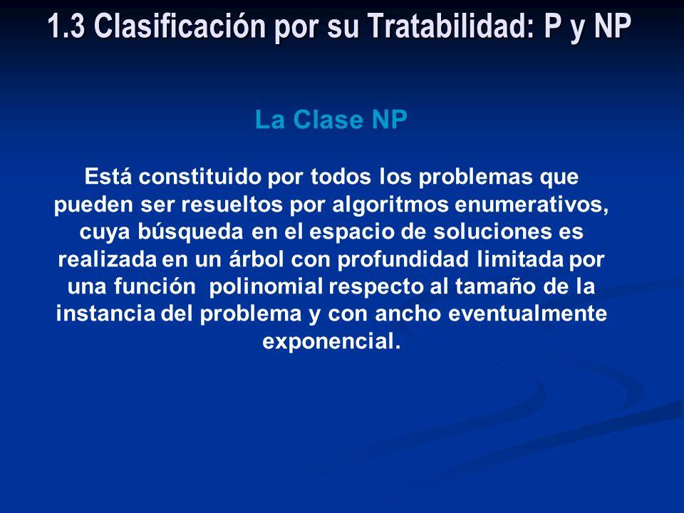 La clase P está constituido por los problemas tratables. 1.3 Clasificación por su Tratabilidad: P y NP
