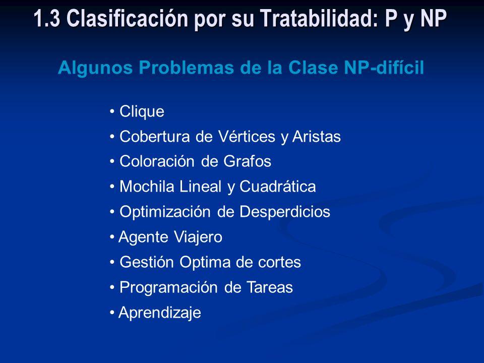 Los problemas de la Clase NP que son intratables son llamados de NP-difícil 1.3 Clasificación por su Tratabilidad: P y NP