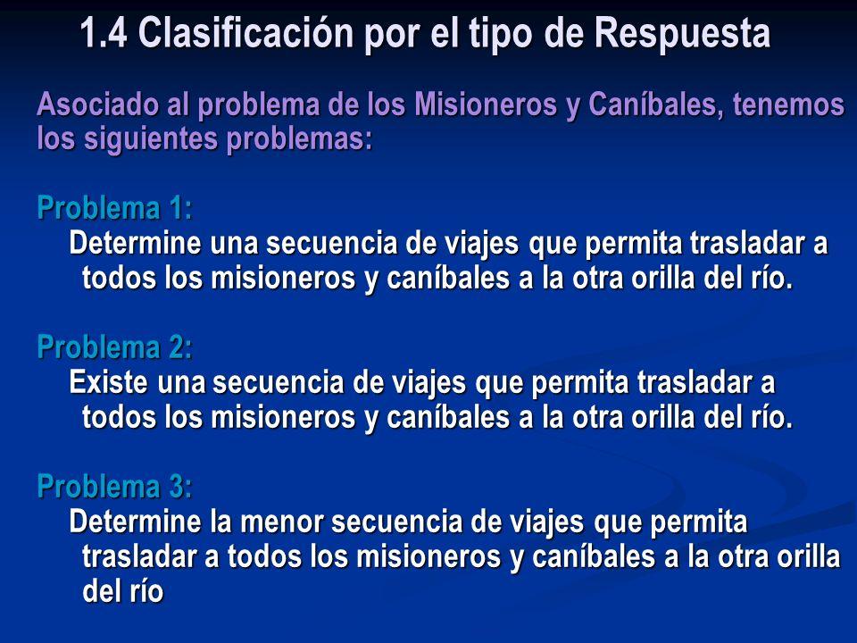 Ejemplo: El Problema de los Misioneros y Caníbales 1.4 Clasificación por el tipo de Respuesta