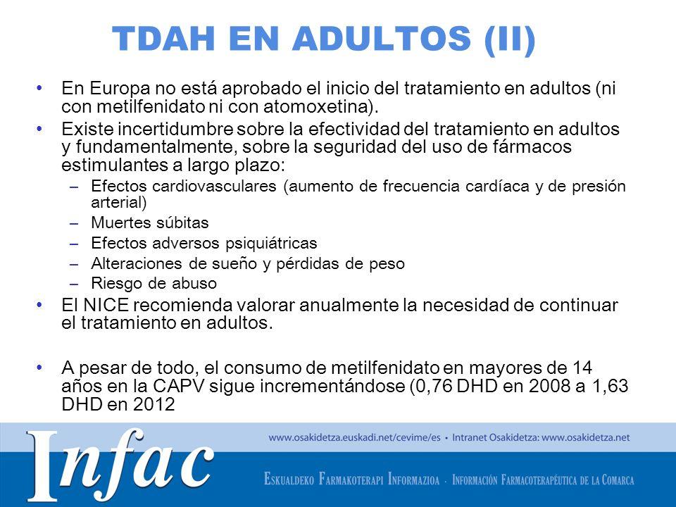 http://www.osakidetza.euskadi.net TDAH EN ADULTOS (II) En Europa no está aprobado el inicio del tratamiento en adultos (ni con metilfenidato ni con at