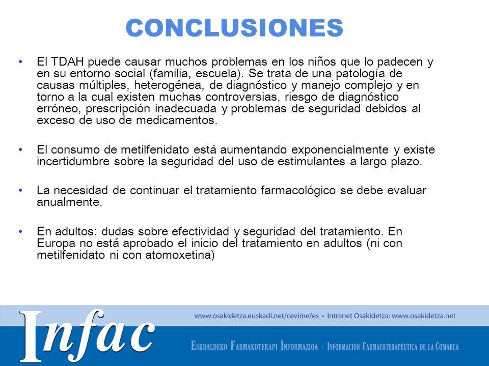 http://www.osakidetza.euskadi.net CONCLUSIONES El TDAH puede causar muchos problemas en los niños que lo padecen y en su entorno social (familia, escu